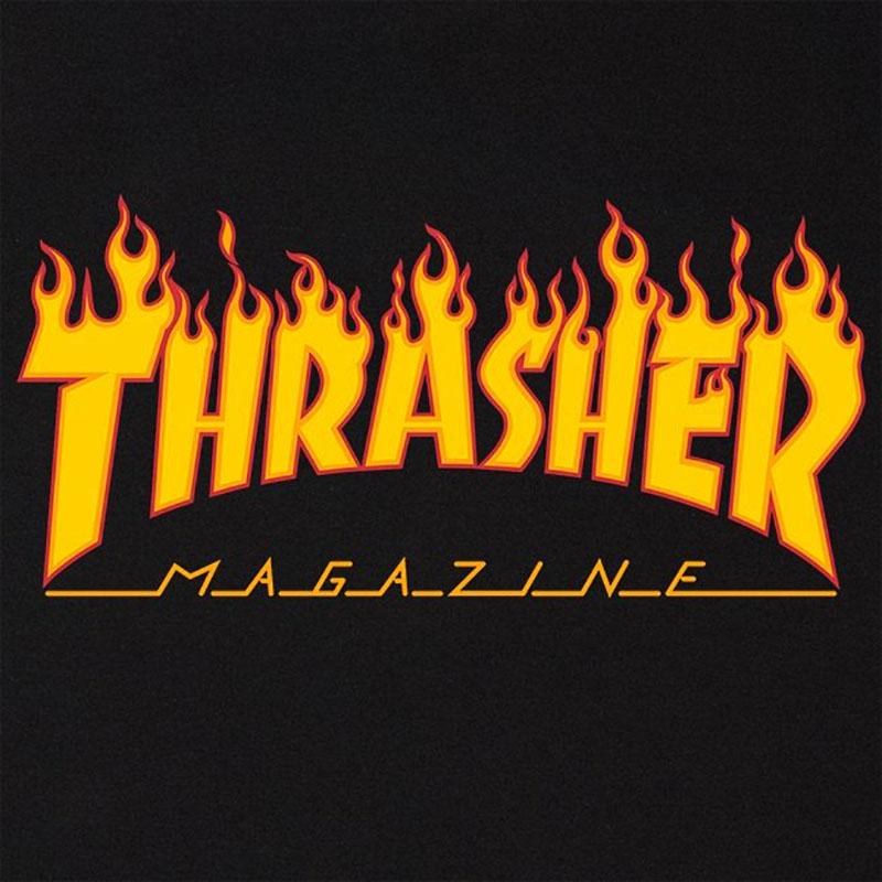 Thrasher Flame logo Black Tee