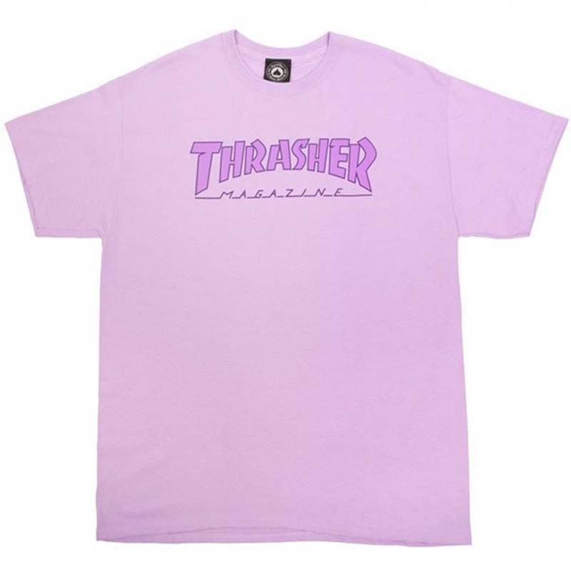 Thrasher T Shirt Outlined Orchid