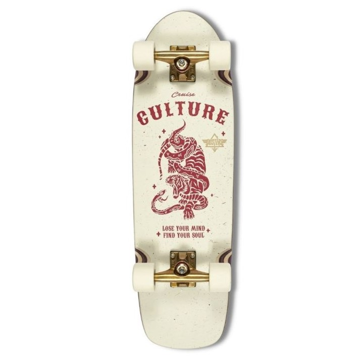 """Dusters Culture 29.5"""" Cruiser Skateboard White/Red/Gold"""