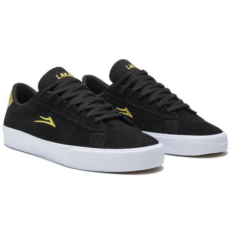 Lakai Newport Skate Shoes - Black/Gold Suede