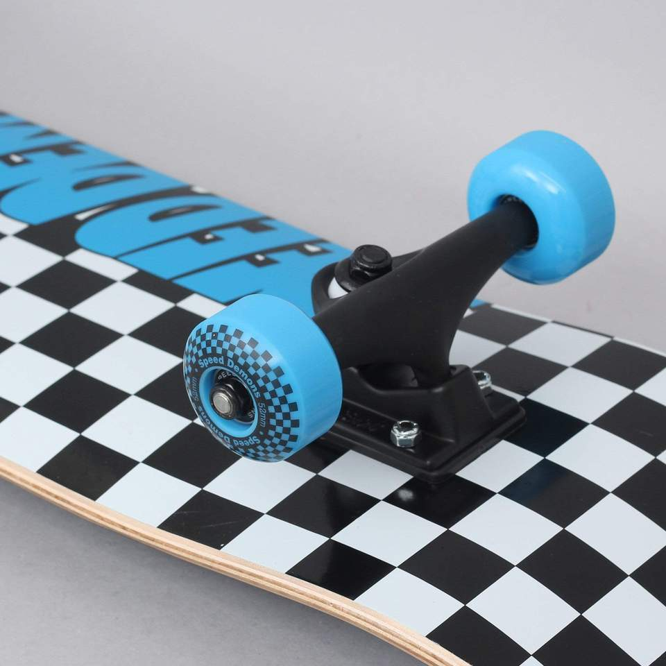 Speed Demons Checkers Factory Complete Skateboard Black Blue 7.75″
