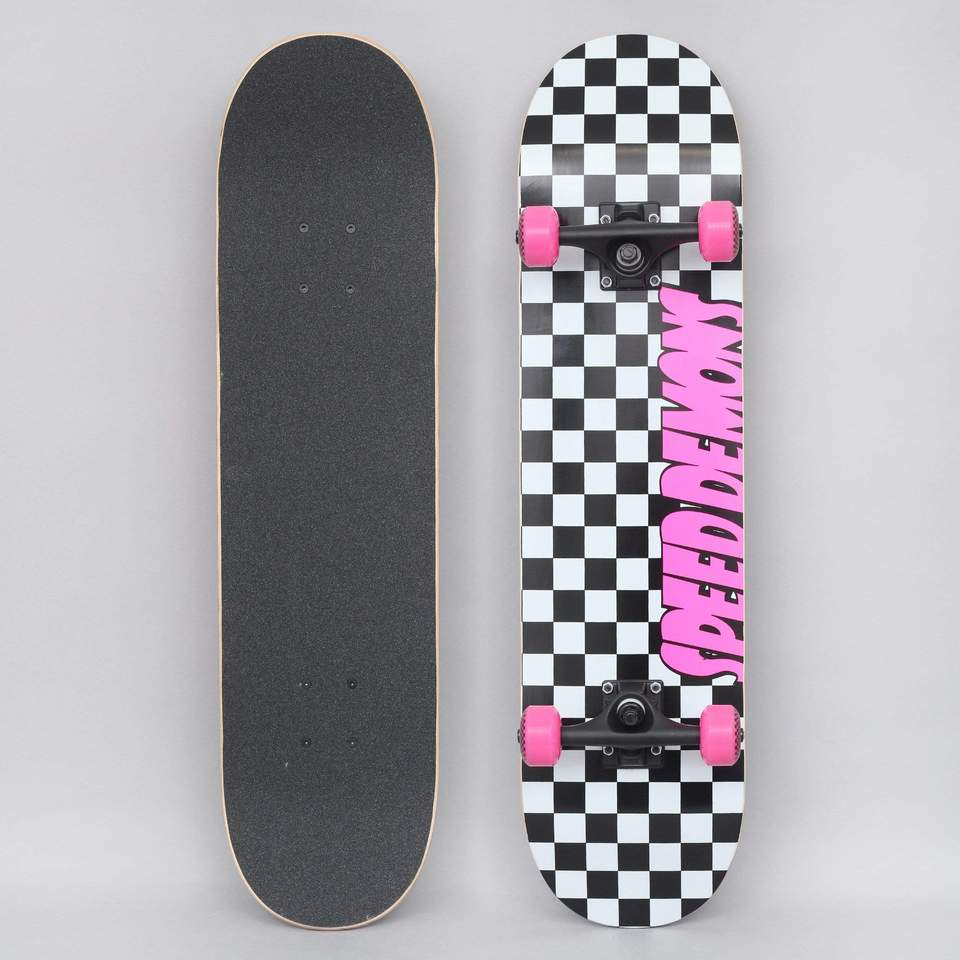 """Speed Demons Checkers Factory Complete Skateboard Black Pink 7.75"""""""