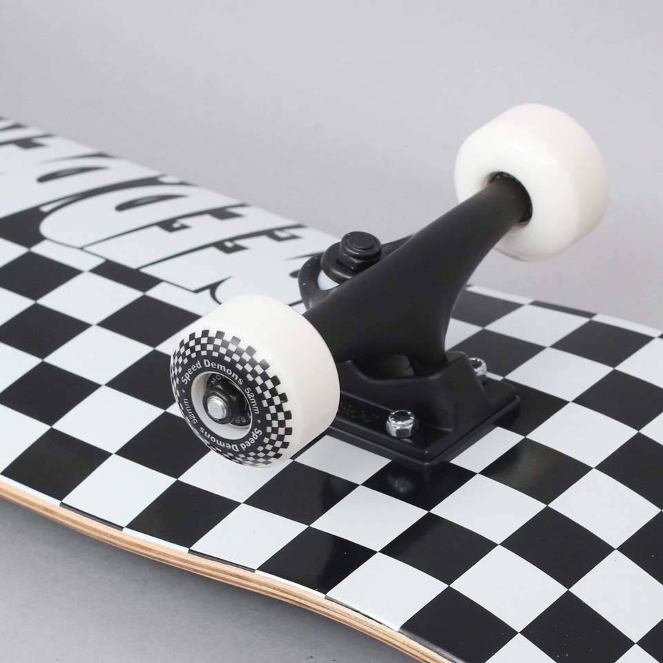 """Speed Demons Checkers Factory Complete Skateboard Black White 8"""""""