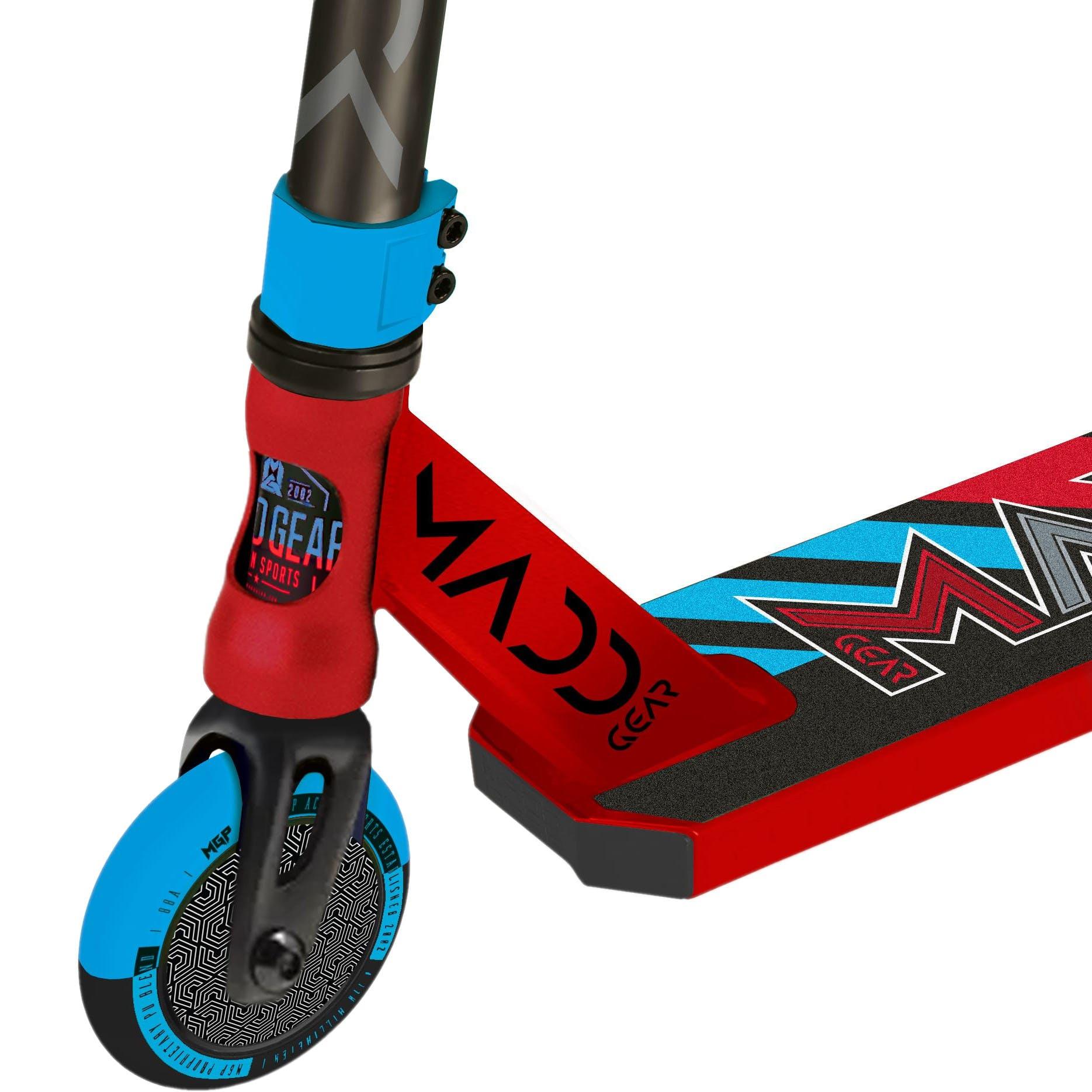 madd kick pro v5 stunt scooter red blue