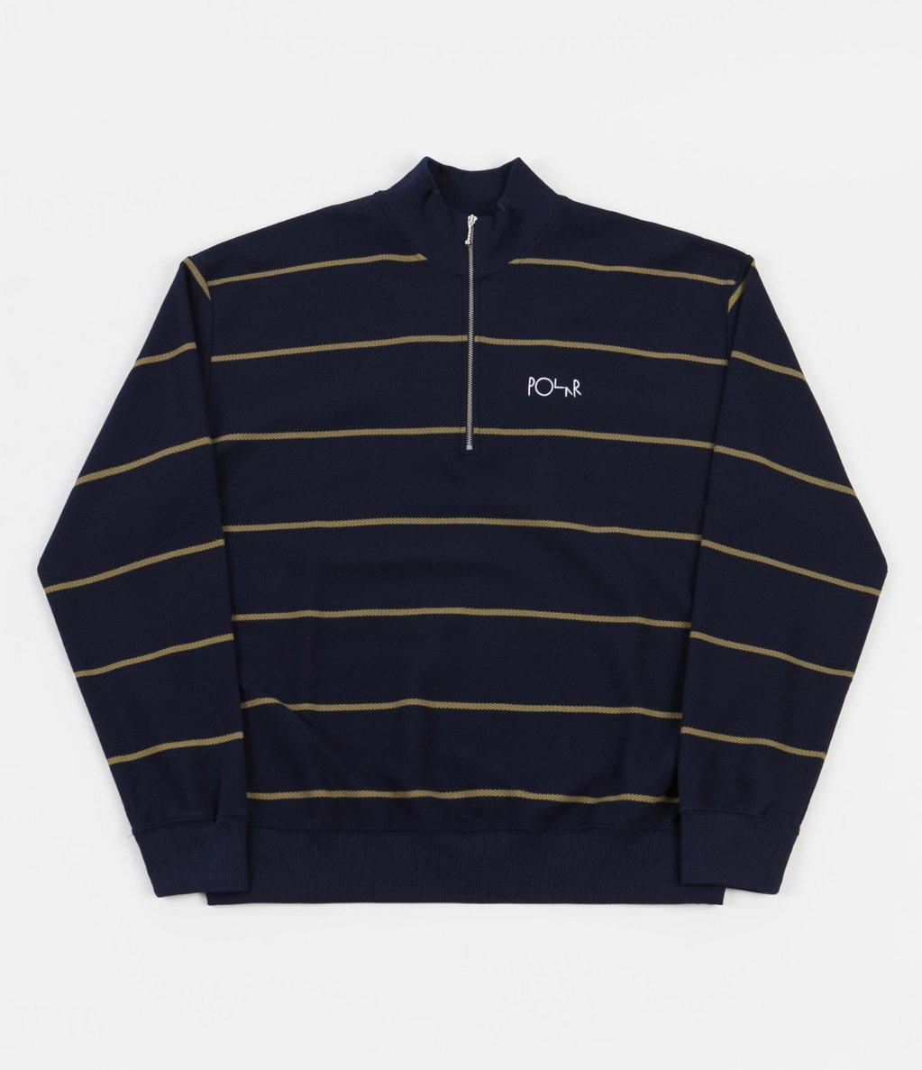 Polar Stripe Zip Neck Sweatshirt - Rich Navy