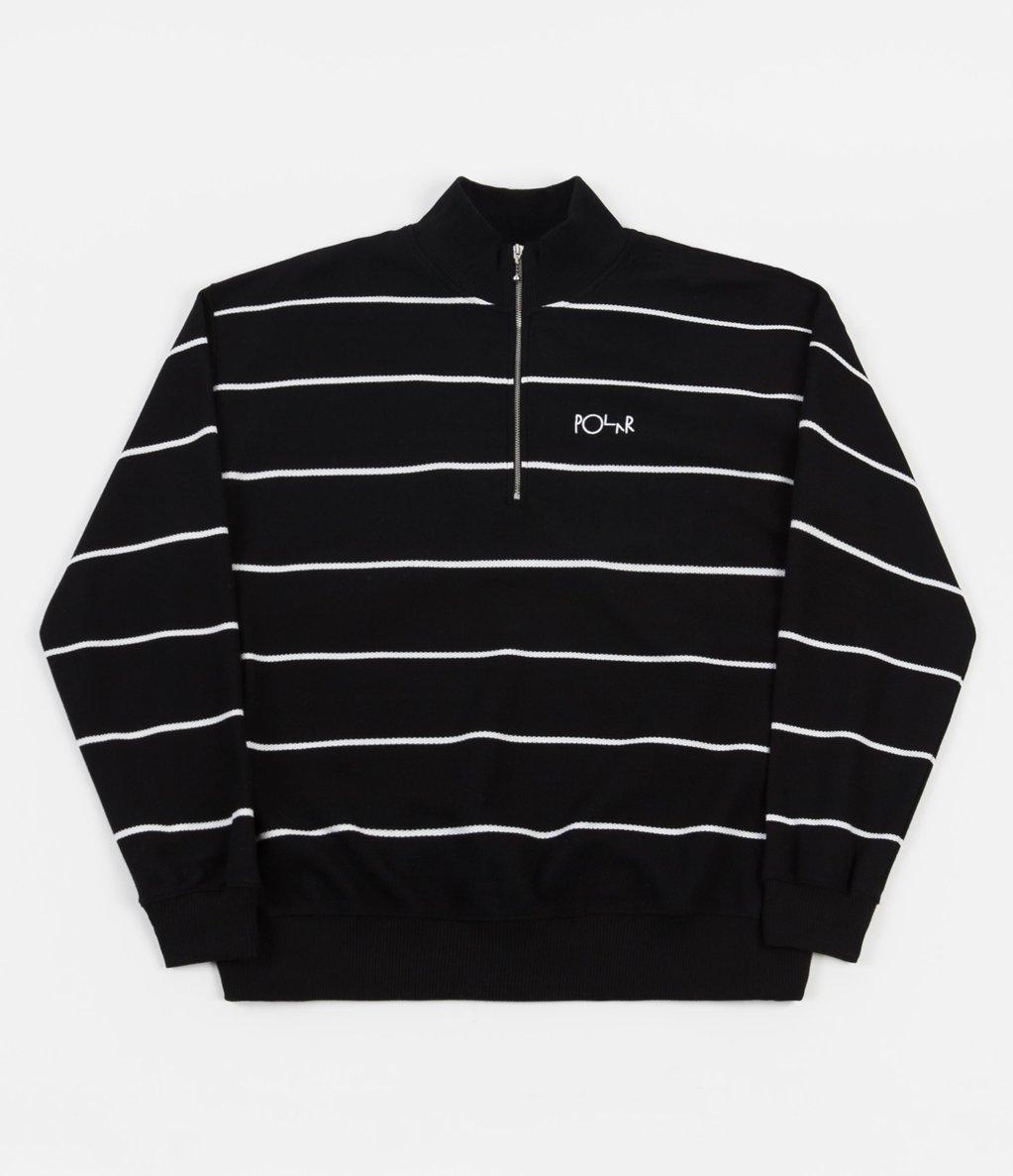 Polar Stripe Zip Neck Sweatshirt - Black